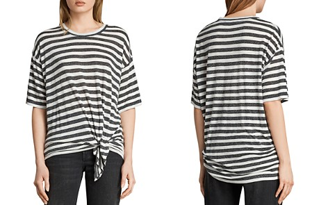 ALLSAINTS Meli Tie-Front Striped Tee - Bloomingdale's_2