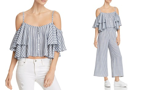 Vintage Havana Striped Cold-Shoulder Cropped Top - Bloomingdale's_2
