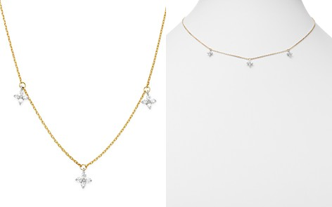 Bloomingdale's Diamond Clover Station Necklace in 14K White & Yellow Gold, 0.30 ct. t.w. - 100% Exclusive _2