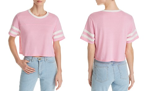 ALTERNATIVE Striped-Sleeve Cropped Tee - 100% Exclusive - Bloomingdale's_2