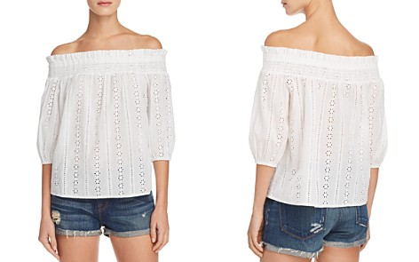 AQUA Eyelet Off-the-Shoulder Top - 100% Exclusive - Bloomingdale's_2