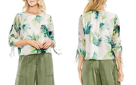 VINCE CAMUTO Sunlit Palm Drawstring-Sleeve Top - Bloomingdale's_2