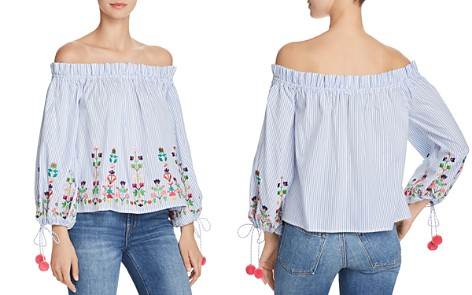 AQUA Embroidered Striped Off-the-Shoulder Top - 100% Exclusive - Bloomingdale's_2