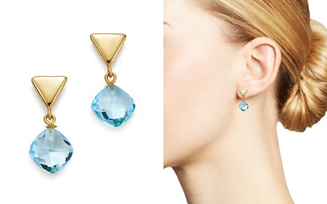 Bloomingdale's Blue Topaz Triangle Drop Earrings in 14K Yellow Gold - 100% Exclusive _2
