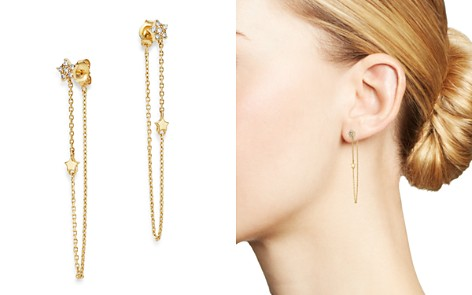 Moon & Meadow Diamond Star Front-Back Draped Chain Earrings in 14K Yellow Gold, 0.13 ct. t.w. - 100% Exclusive - Bloomingdale's_2