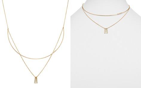Moon & Meadow Diamond Wire Collar & Chain Layered Necklace in 14K Yellow Gold, 0.32 ct. t.w. - 100% Exclusive - Bloomingdale's_2