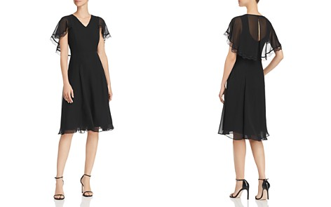 nanette Nanette Lepore Chiffon Fit-and-Flare Cape Dress - Bloomingdale's_2