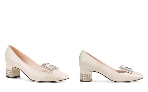 Gucci Women's Leather & Crystal G Mid Heel Pumps - Bloomingdale's_2