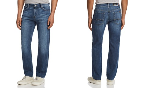 7 For All Mankind Standard Straight Fit Jeans in French Blues - Bloomingdale's_2