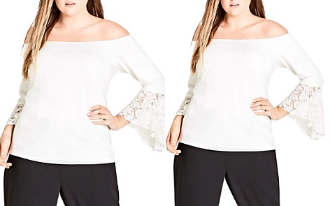 City Chic Plus Lace Cuff Bell Sleeve Top - Bloomingdale's_2