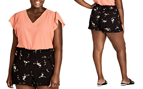 City Chic Plus Aerial Floral Ruffle-Trim Shorts - Bloomingdale's_2