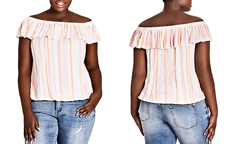 City Chic Plus Kalua Striped Off-the-Shoulder Top - Bloomingdale's_2