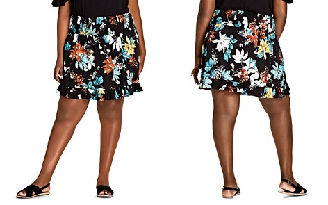 City Chic Plus Tropical Floral Ruffle-Trim Skirt - Bloomingdale's_2