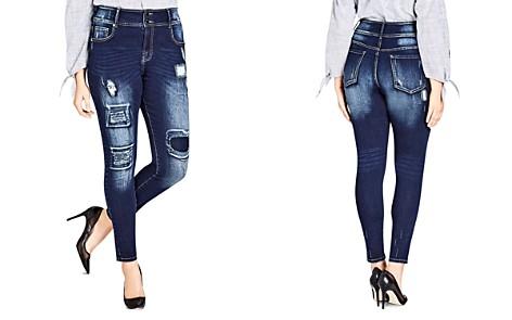 City Chic Plus Harley Distressed Patched Skinny Jeans in Dark Indigo - Bloomingdale's_2