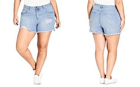 City Chic Plus Distressed Cutoff Denim Shorts in Light Denim - Bloomingdale's_2