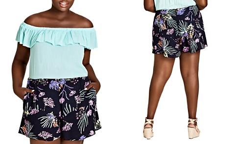 City Chic Plus Garden Floral Ruffle-Trim Shorts - Bloomingdale's_2