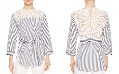 Sandro Dorothee Belted Striped Lace-Inset Top - Bloomingdale's_2