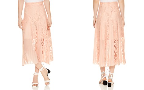 Sandro Polina Pleated Lace Midi Skirt - Bloomingdale's_2