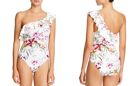 Carmen Marc Valvo Botanical One-Shoulder One Piece Swimsuit - Bloomingdale's_2