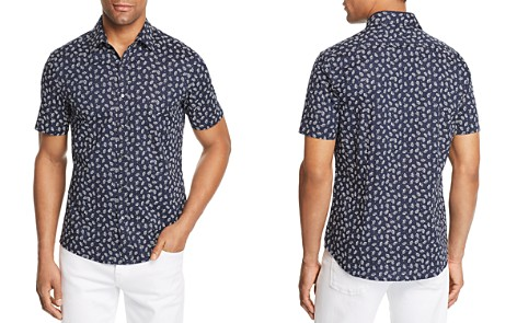 Michael Kors Leaf-Print Short-Sleeve Trim Fit Shirt - 100% Exclusive - Bloomingdale's_2