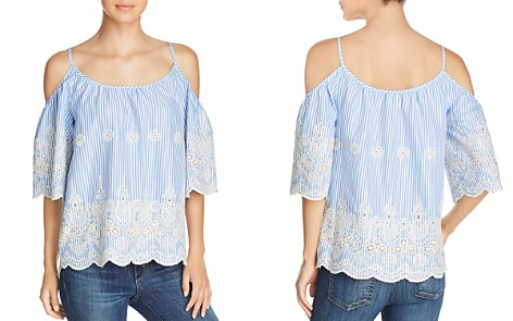 Love Scarlett Pinstripe Eyelet Cold-Shoulder Top - Bloomingdale's_2