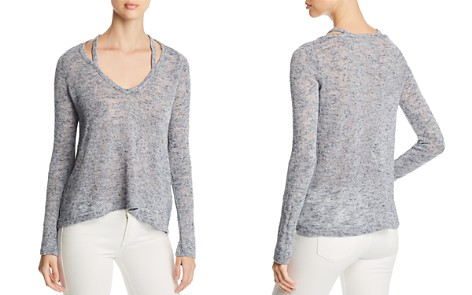 Three Dots Marled Cutout V-Neck Sweater - Bloomingdale's_2