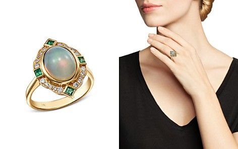 Bloomingdale's Ethiopian Opal, Emerald & Diamond Cocktail Ring in 14K Yellow Gold - 100% Exclusive _2