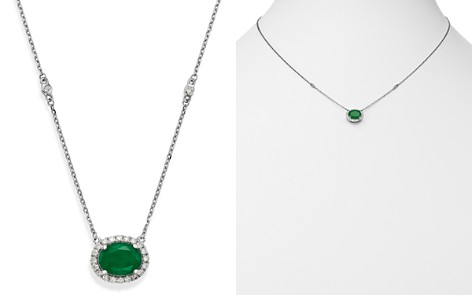 """Bloomingdale's Emerald Oval & Diamond Pendant Necklace in 14K White Gold, 18"""" - 100% Exclusive _2"""