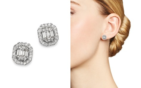 Bloomingdale's Diamond Mosaic & Halo Stud Earrings in 14K White Gold, 1.0 ct. t.w. - 100% Exclusive _2