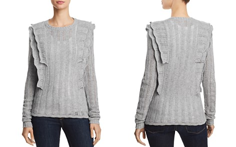 AQUA Cashmere Ruffled Pointelle Cashmere Sweater - 100% Exclusive - Bloomingdale's_2
