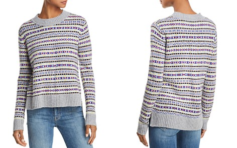 AQUA Cashmere Fair Isle High/Low Cashmere Sweater - 100% Exclusive - Bloomingdale's_2