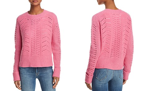 AQUA Cashmere Chunky Pointelle Cable Cashmere Sweater - 100% Exclusive - Bloomingdale's_2