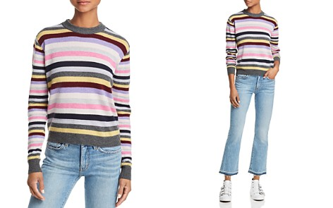 AQUA Cashmere Striped Cashmere Sweater - 100% Exclusive - Bloomingdale's_2
