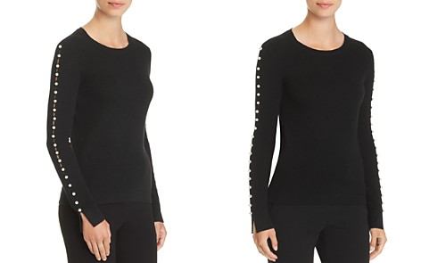 C by Bloomingdale's Embellished-Sleeve Cashmere Sweater - 100% Exclusive _2