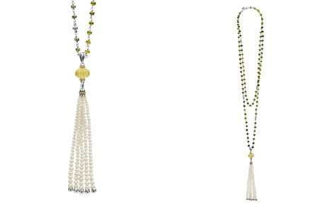 "LAGOS 18K Gold & Sterling Silver Caviar Forever Olive Quartz Melon Bead, Green Tourmaline & Cultured Freshwater Pearl Tassel Necklace, 36"" - Bloomingdale's_2"