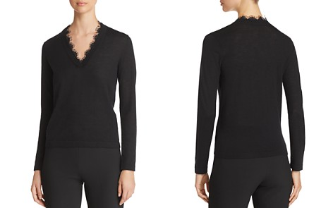 Emporio Armani Lace-Detail Cashmere Sweater - Bloomingdale's_2