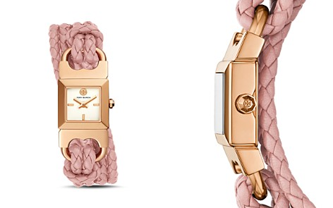 Tory Burch Double T-Link Rose Gold-Tone & Pink Leather Strap Watch, 18mm x 18mm - Bloomingdale's_2