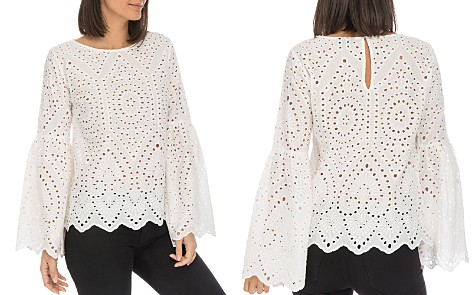 B Collection by Bobeau Tessa Eyelet Bell-Sleeve Top - Bloomingdale's_2
