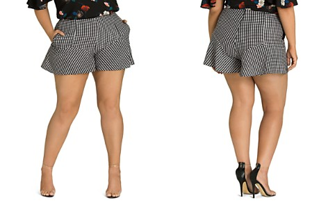 City Chic Plus Gingham Flutter Shorts - Bloomingdale's_2