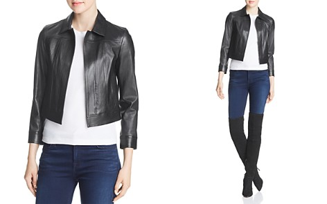 Theory Shrunken Leather Jacket - Bloomingdale's_2