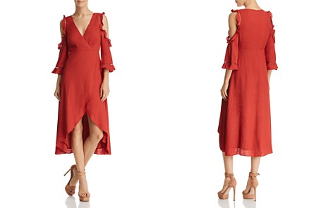 AQUA Cold-Shoulder Faux-Wrap Midi Dress - 100% Exclusive - Bloomingdale's_2