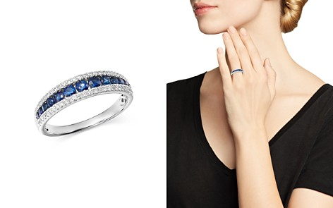 Bloomingdale's Blue Sapphire & Diamond Band in 14K White Gold - 100% Exclusive_2