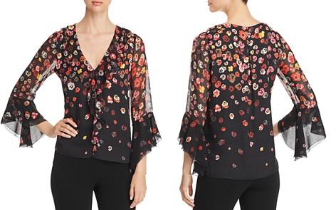 Elie Tahari Jillianna Bell Sleeve Floral Silk Top - Bloomingdale's_2