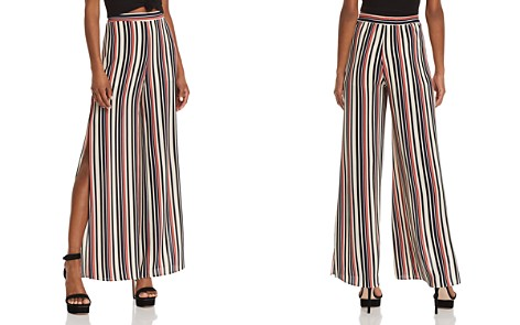 AQUA Slit Striped Wide-Leg Pants - 100% Exclusive - Bloomingdale's_2