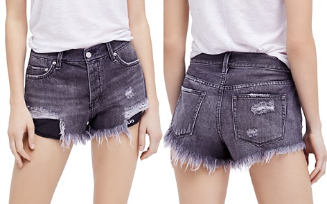 Free People Loving Good Vibrations Denim Shorts in Black - Bloomingdale's_2