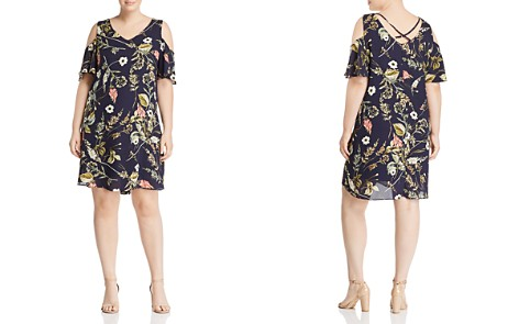 B Collection by Bobeau Curvy Mary Floral Print Cold-Shoulder Dress - 100% Exclusive - Bloomingdale's_2