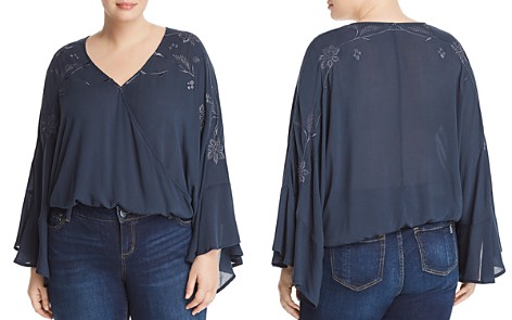 Lucky Brand Plus Embroidered Flare-Sleeve Top - Bloomingdale's_2