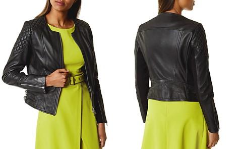 KAREN MILLEN Collarless Leather Jacket - Bloomingdale's_2