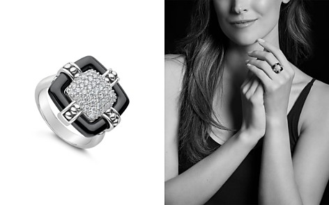 LAGOS Sterling Silver Black Caviar Collection Diamond & Black Ceramic Large Square Ring - Bloomingdale's_2