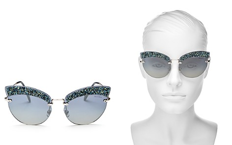 Miu Miu Women's Embellished Mirrored Cat Eye Sunglasses, 65mm - Bloomingdale's_2